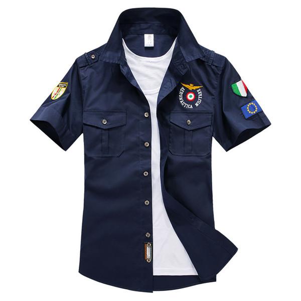 Al por mayor-2016 verano para hombre de manga corta camisa de algodón aviador hombres camisas Solid Chemise Homme Aeronautica Militeare para hombre camisa casual hombres