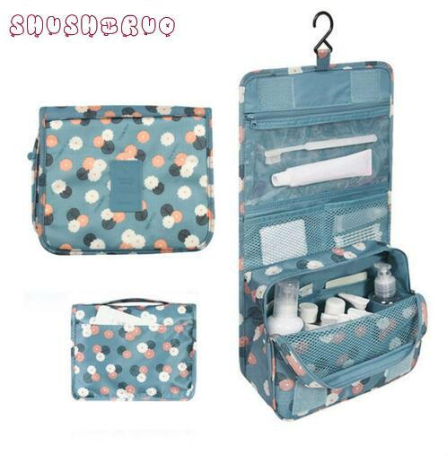 New SHUSHIRUO Band Unisex Blue Print Hanging Toiletry Clear Travel Storage BAG Cosmetic Carry Toiletry Organizer For Traveling Bathroom
