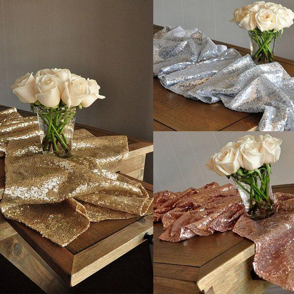 Großhandel Sparkle Champagner Gold Hochzeit Tischläufer Rose Gold Party Decor Silber Hochzeit Tischläufer Winter Wonderland Party Dekorationen 275