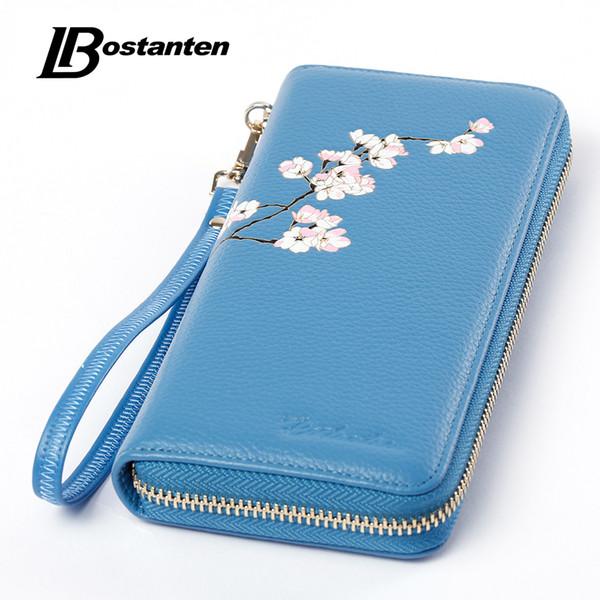 Wholesale- BOSTANTEN Causal Designer Zipper Women Long Wallets Elegant Female Genuine Leather Wallet Floral Lady Phone Bag Day Clutch Purse