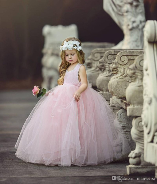 Cheap Pink Flower Girls' Dresses For Wedding Ball Gown Tutu Boho Kids Formal Wear Sleeveless Long Beach Girl's Pageant Gowns