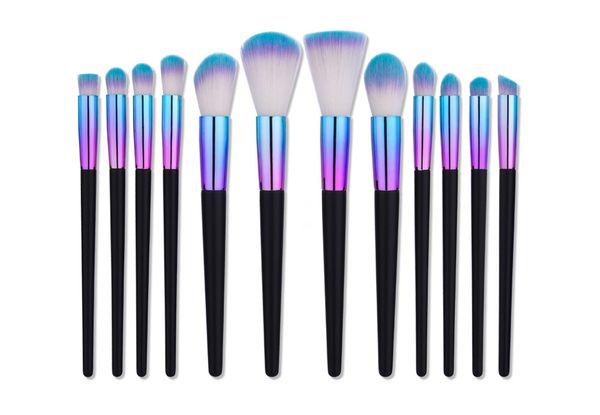 Mileegirl New 7 12pcs Pennelli per trucco Set Rainbow Tube Legno professionale contorno contorno pennello faccia Kit