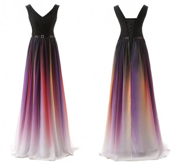 Prom Dress Gradient Ombre Dresses Long Evening Wear Sash Chiffon