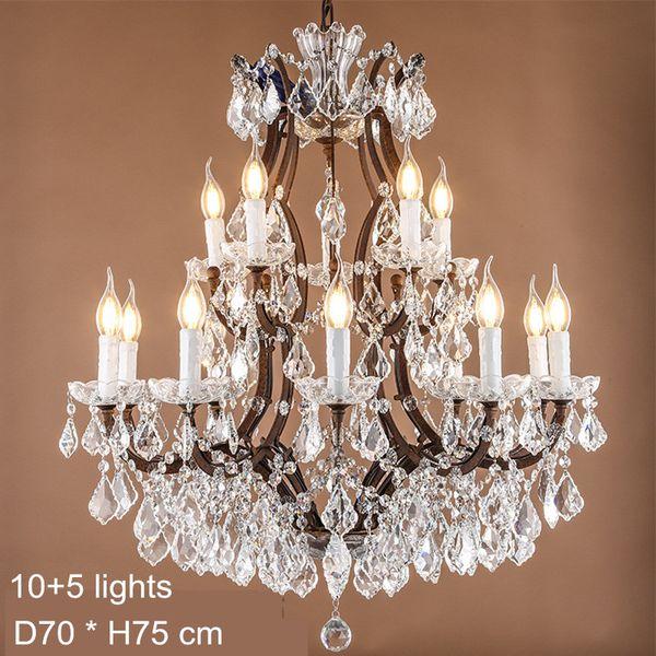 Maria Theresa Crystal Chandelier Lamps E14 E12 Led Candela Bulb Lights Large Lamp Rustic Loft