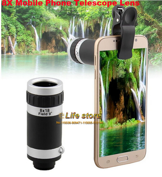 Toptan-8X Zoom Optik Cep Telefonu Teleskop Lens Klip Evrensel Xiaomi Mix Evo Için, Oppo 9 Bul, ZTE Hawkeye, ZTE Projesi CSX