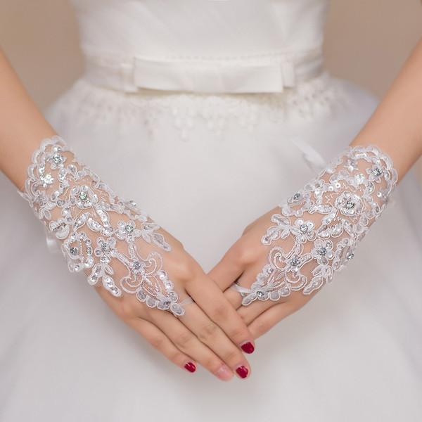 Ücretsiz Kargo 2016 Yeni Sıcak Satış Moda Beyaz, Fildişi İnci Dantel Düğün Gelin Gelin Eldiven, Yüzük Bilezik Düğün aksesuarları