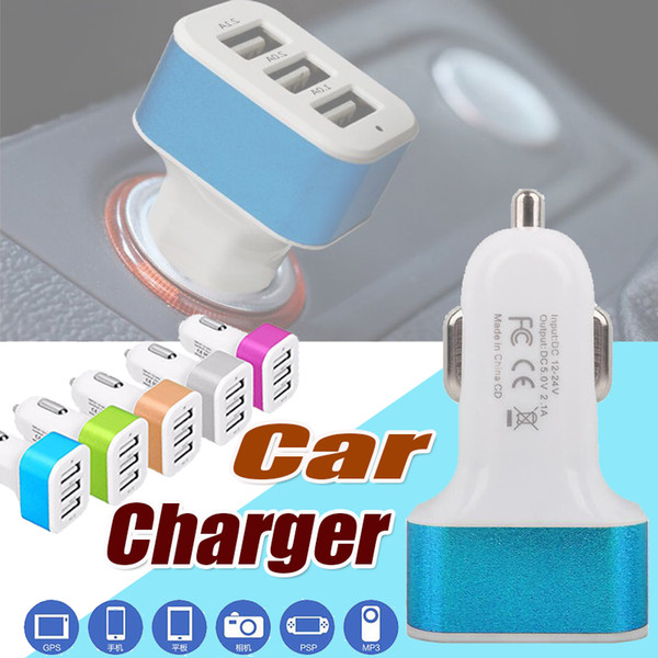 Car Charger Mini Traver Adapter Universal Car Plug Triple 3 USB Ports USB Charger For iPhone XS Plus 2018 X 8 7 Samung Huawei Xiaomi Sony LG