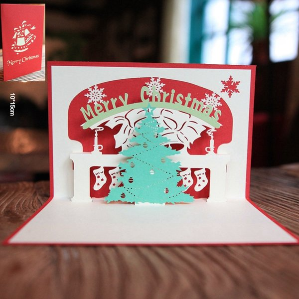 10pcs/lot Merry Christmas Greeting Card 3D Pop UP Cards Laser Cut Party Invitations with Envelope