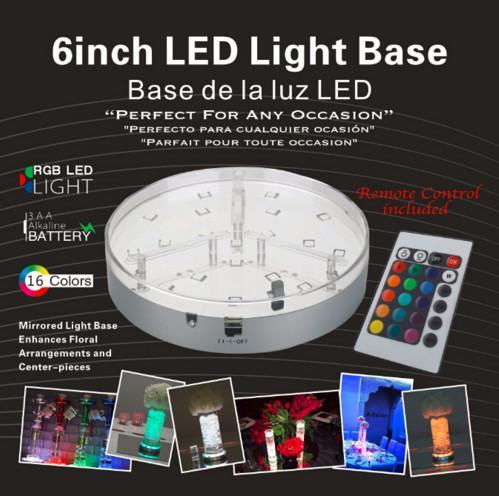 Nuovo Wireless 24keys Telecomando 6inch 15CM Multi-colore Display a LED Luce Batteria / Carica Decorazione di cerimonia nuziale Rotonda Mirrior Centrotavola L