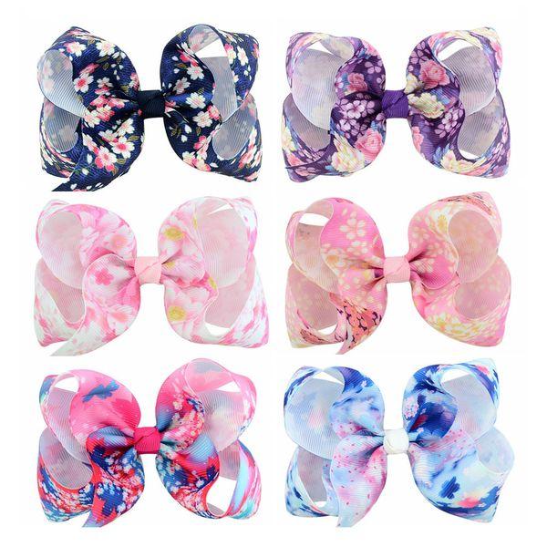 24 Pcs 4 Inch New Print Flower Grosgrain Ribbon Bow With Clip Kids Floral Hair Bows Hair Clips Hairpins Barrettes Beautiful HuiLin C157