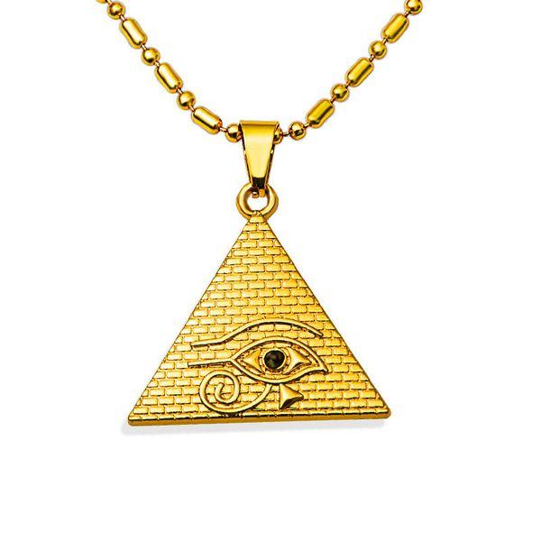 Горячие продажи мужчины хип-хоп ювелирные изделия глаз пирамида кулон ожерелье 18K золотое покрытие 80 см длинная цепь модные