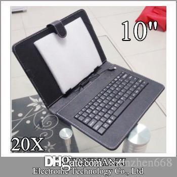 20X OEM Black Ledertasche mit Micro USB Plug Interface Tastatur für 10 MID Tablet PC Micro C-JP