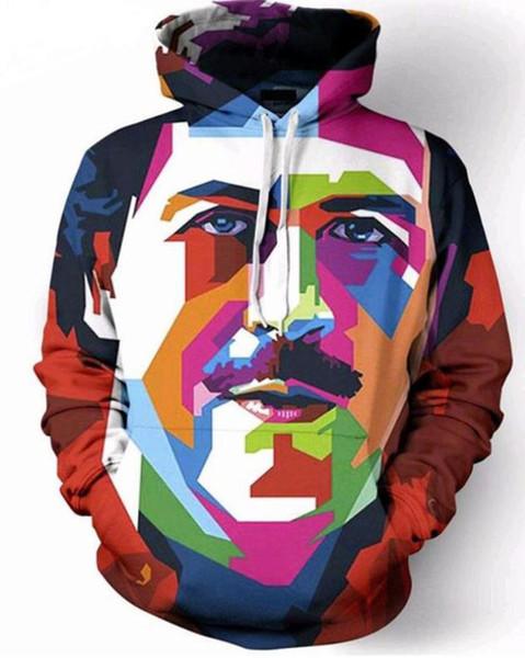 Neue Mode Paare Männer Frauen Unisex Pablo Escobar Kunstwerk 3D Print Hoodies Pullover Sweatshirt Jacke Pullover Top T9