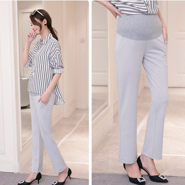 Office Ladies Formal Work Maternity Belly Pants Autumn Spring Fashion Pregnancy OL Straight Pants for Pregnant Women