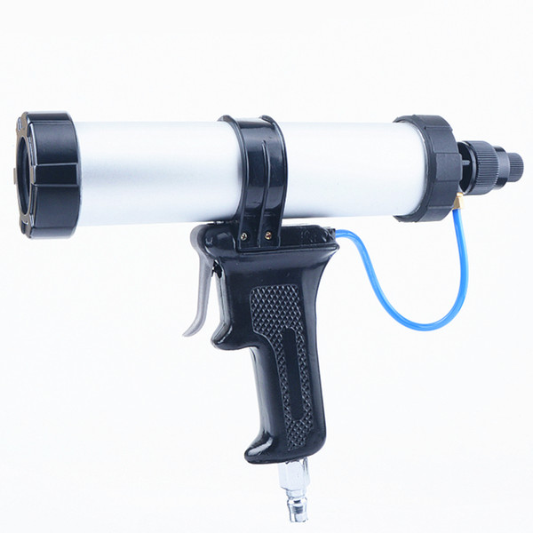best selling free shipping 310ml pneumatic glass glue gun adjustable sausag type air gluer quick air exhaust hard bottle package glass glue
