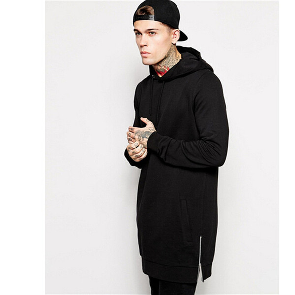 Wholesale-New Arrival Free Shipping Fashion Men's Long Black Hoodies Sweatshirts Feece With Side Zip Longline Hip Hop Streetwear Shirt