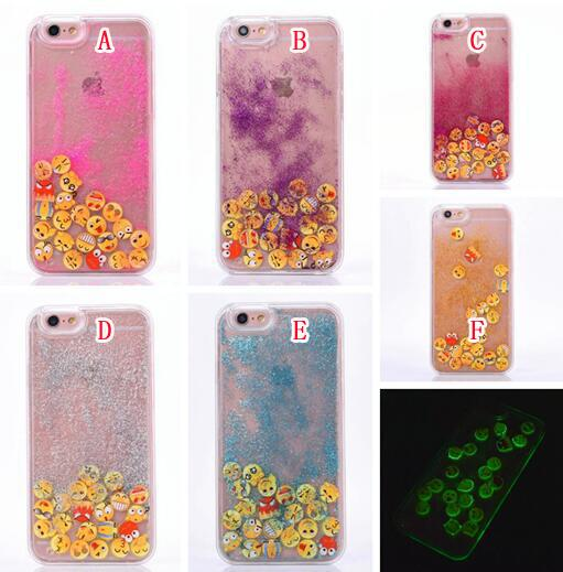 Luminous Quicksand Liquid Glitter Smile Emotion Hard PC TPU Case For Iphone 8 7 I7 6 6S Plus I6 Glow In Dark Magical Dynamic Star Skin Cover