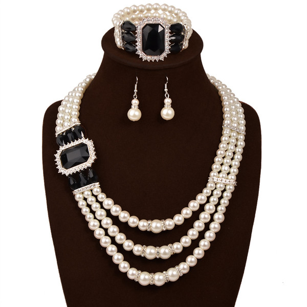pearl jewelry set 3pcs new fashion simulated plastic pearl beads statement women Necklace Earrings Ring For Women Ladies Wedding