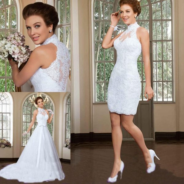 2016 Two Piece Wedding Dresses 2 In 1 Stylish Short Sheath Lace Bridal Party Gowns With