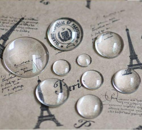 100pcs Domed Round Transparent Clear Glass Cabochons Cameo settings Glass Cover 12mm