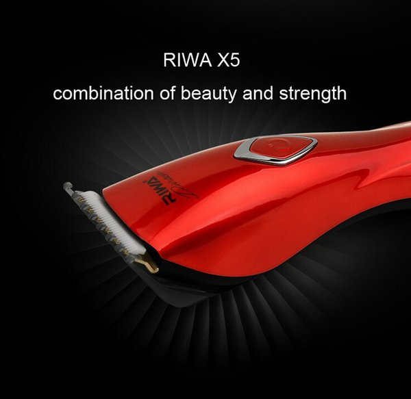 Riwa New Hair Cutting Machine Silver Red Color Rechargeable Hair Trimmer Attachment Combs 3-30mm 4 Hours Charge Time X5