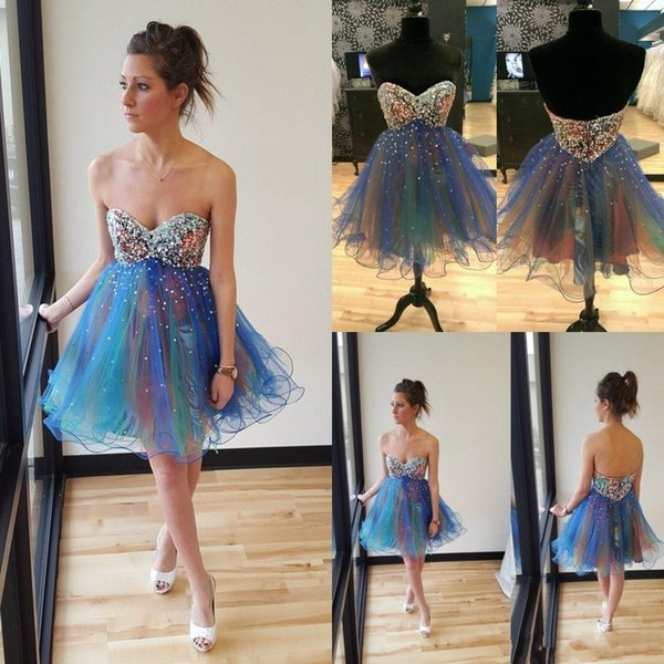 Short Mini Sequined Prom Dresses A line Organza Sweetheart Sexu Bling Junior Women Party Gowns Beaded Prom Gowns