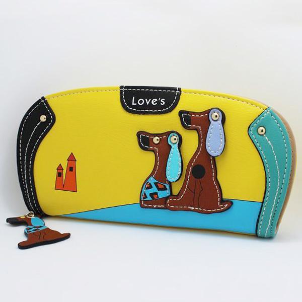 New Arrive Cute PU Leather Women Long Wallet Puppy Zipper Clutches Cartoon Dog 6 Colors Female Wallets Lady Clutch Change Purse