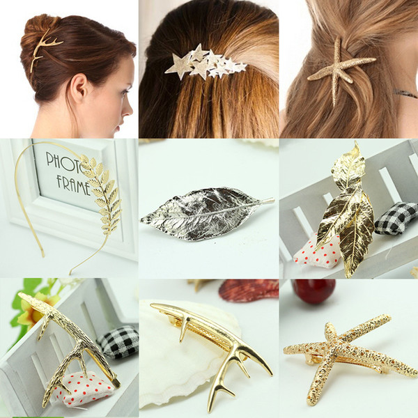 Ladies Hairclips Jewelry Gold Silver Barrettes Europe Antique Forcine da bagno Starfish affascinanti Foglie Star Hair Clips Fasce