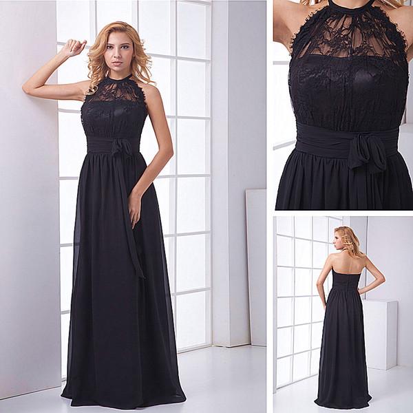 High Quality Elegant Black Long A-line Halter Evening Dress Chiffon Lace Top Floor Length Prom Dress Pleats Party Dresses
