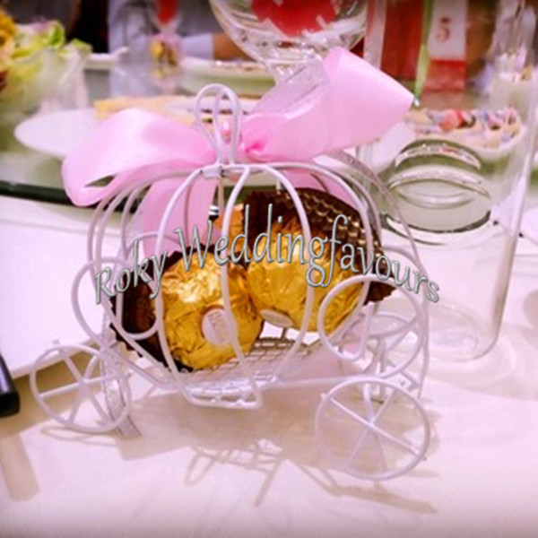 FREE SHIPPING 100PCS Pumpkin Carriage Favors Boxes Wedding Candy Boxes Events Party Gifts Bridal Shower Party Table Decoration Favors