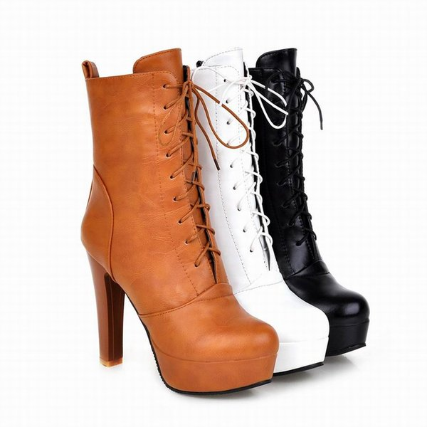 Free Shipping Ladies Shoes Boots Designs Fashion Girls Shortcut Round Toe Platform High Heel Lace Up Black Brown White Cheap Boot 2151