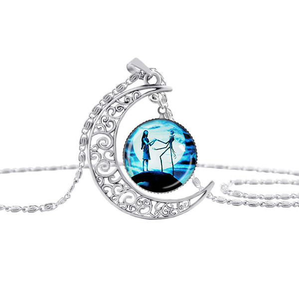 Nightmare Before Christmas glass time gem necklace Cabochon Necklaces jewelry for women Kids Christmas gift 161459
