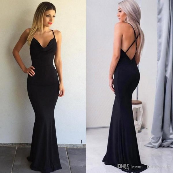 Sexy Backless Black Mermaid Formal Evening Dresses Long Sleeveless Deep V Neck Stretchy Prom Party Gowns Cheap For Holiday Gowns