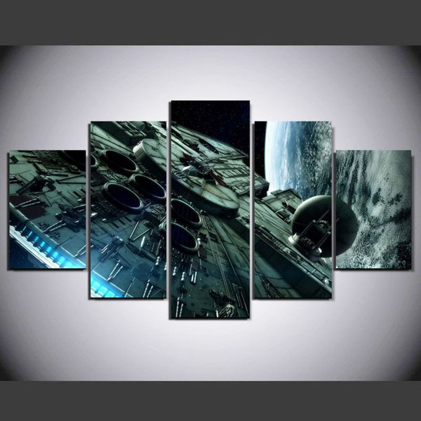 5 Pcs/Set Framed Hot Movie Return of the Jedi movie poster print stretched wall art home decoart printed painting home canvas decor