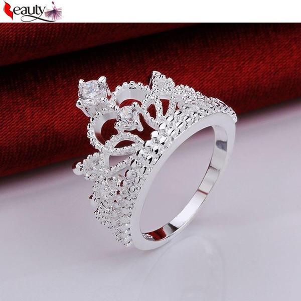 1 adet Yeni Moda Gümüş Kaplama Prens Prenses Emperyal Taç Zirkon Rhinestone Düğün Çift Yüzükler Takı Aksesuarları