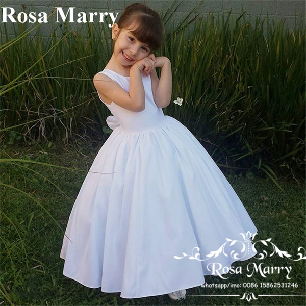 Cheap Simple White Flower Girls Dresses 2020 Ball Gown Backless Knot Bow Long Length First Girls Communion Birthday Party Gowns For Toddlers