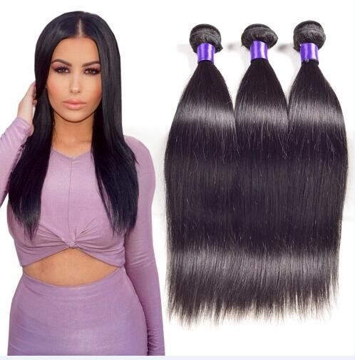 8A High Quality Peruvian Straight Hair Unprocessed Human Hair Extensions 8-30inch Natural Black Color Thick Full Soft Dyeable 3pcs/lot DHL
