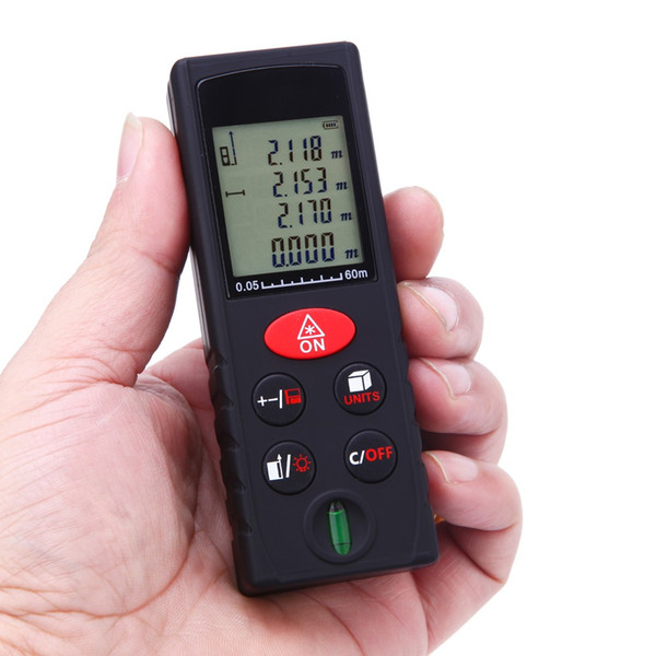 Wholesale-5pcs/lot 60m/197ft Digital Laser Meter Handheld Distance Meter High Precision Range Finder Area Volume Measurement Level Bubble