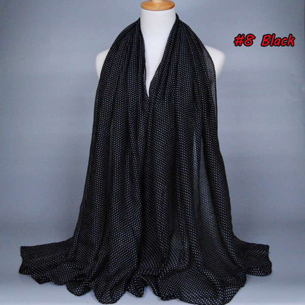 Wholesale printe small polka dot fashion 100% viscose cotton voile long shawls muslim hijab Muffler scarves/scarf