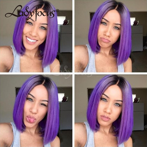 Lady Focus Purple Full Lace Human Hair Wigs Bleached Knots Dark Roots Straight Bob Lace Front Wig Brazilian Two Tone Purple Wig