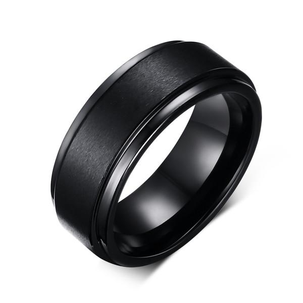 Coole Männer Wolframcarbid Ringe Reine Wolfram Schwarz Ringe für Männer Schmuck 8mm Breite Männer Hochzeit Verlobungsringe
