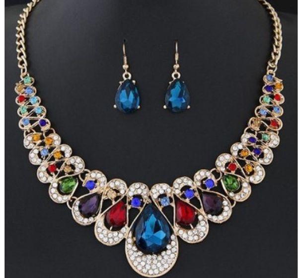 Toq Quality Fashion Crystal Gemstone Statement Earrings Necklaces Rhinestone Wedding Bridal Sets Jewelry Set Jewerly