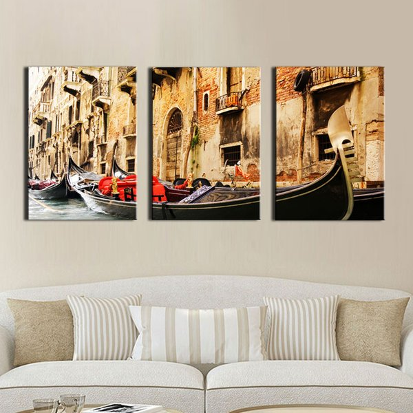 3 Panel Print On Canvas Painting Famous Painting Collection For Living Room (Venice Scenery)