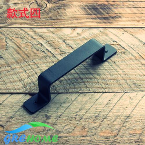 Hot sale retro iron steel barn sliding wooden door handles black door knob and handles