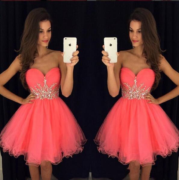 2018 Recién Llegado de agua Melón Cristales Piedras cortas Tul Vestidos de Fiesta 2019 Dulce 16 Vestidos de graduación Mini Vestidos de cóctel