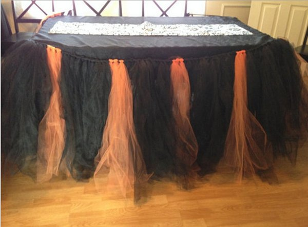 1yd Tulle Table Skirt Table Cover Cloth Skirting for Halloween Christmas Party Birthday Cake Table Party Decor (1PCS Tutu Skirt)