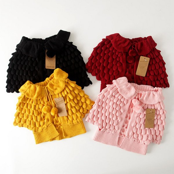 Children Girls Sweater Mermaid Scale Knit Hollow Cape cardigan Batwing sleeve Balls Strings Girls clothing 2017 Autumn Wine red yellow Pink