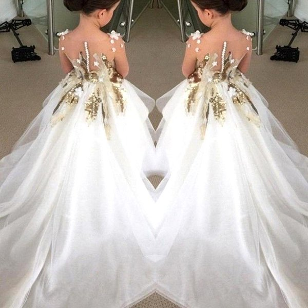 Encantadores vestidos para niñas de flores para bodas Mangas largas Lentejuelas doradas Vestidos de fiesta Vestidos de primera comunión para adolescentes de niños BA1741
