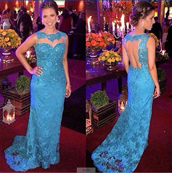Light Blue Lace Sheath Evening Gowns Sheer Open Back Long Modest Mother Of The Bride Dresses Abiti Da Cerimonia Donna