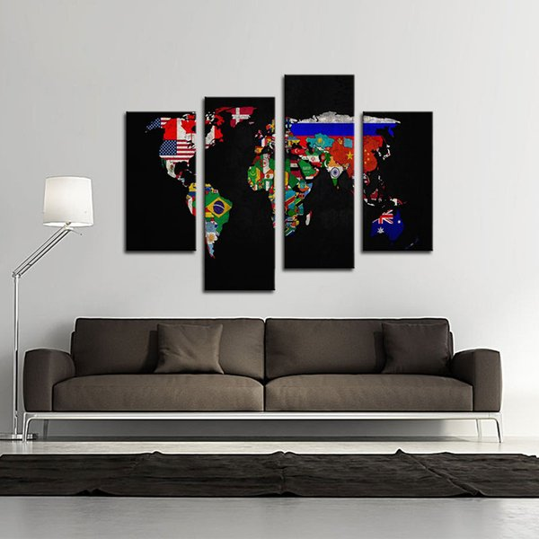 4 Pieces Map Canvas Wall Art Painting Flag in World Map the Picture Print on Canvas For Home Living Room Decor Unframed Ready to Hang